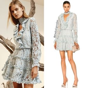 ALEXIS Catalina Dress Blue Lace Tiered Ruffle